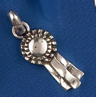Sterling Silver Chunky Ribbon Charm or Pendant