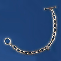 Sterling Silver Chunky Smooth Toggle Bracelet