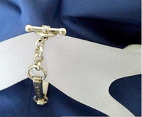 Sterling Silver Contoured Nameplate Bracelet with Toggle Clasp