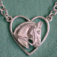 Sterling Silver Dressage Horse in Heart Necklace