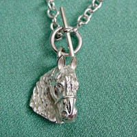 Sterling Silver Friesian Horse Head on a Tiffany -Style Toggle Necklace