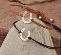 Sterling Silver Horseshoe on Gortex Cord Slide Bracelet