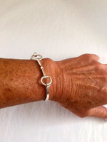 Sterling Silver Handmade Snaffle  Bit Bangle Bracelet