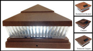 Solar Low Profile 5x5 Copper Post Cap Lights with 5 White or Color LED.
