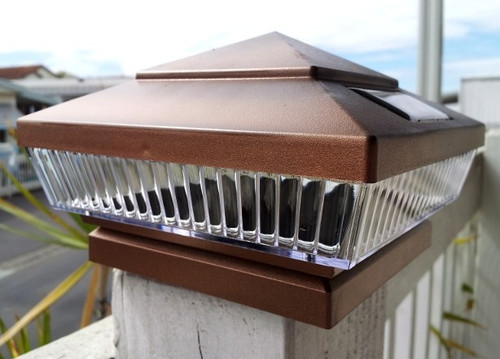 Copper Solar Deck Post Lights 6x6 With 5 LED, Low Profile