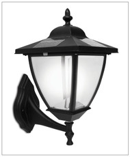 Solar Wall Mount Carriage Light with Black Finish. Glass Lens and 4 White LED.