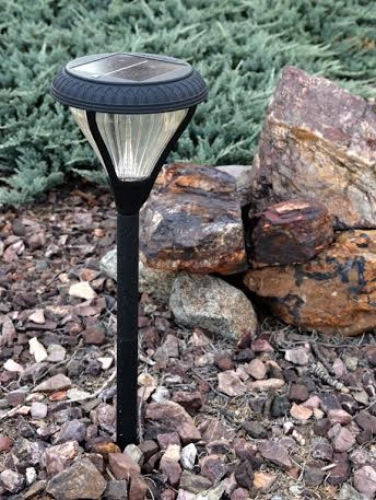 Solar Path Lights Of Cast Aluminum and Glass Lenses Standing 17 Inches.