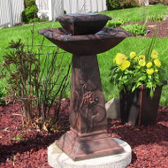 Solar 2 Tier Lily Pads and Flowers Water Fountain, LED Lights, Battery Backup.