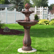 Solar 2 Tier Rust Water Fountain with Battery Backup, 46 Inches.