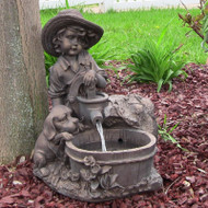 Solar Fountain Boy and Dog at Water Barrel, LED Lights, Battery, 15 Inches.