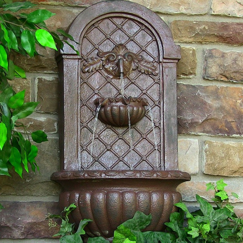 Charmant Solar Wall Mount Water Fountain In Weathered Iron Finish, Optional LED  Light.
