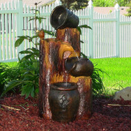 Solar Cascading Water Fountain Pots and Wood with LED Lights and Battery.
