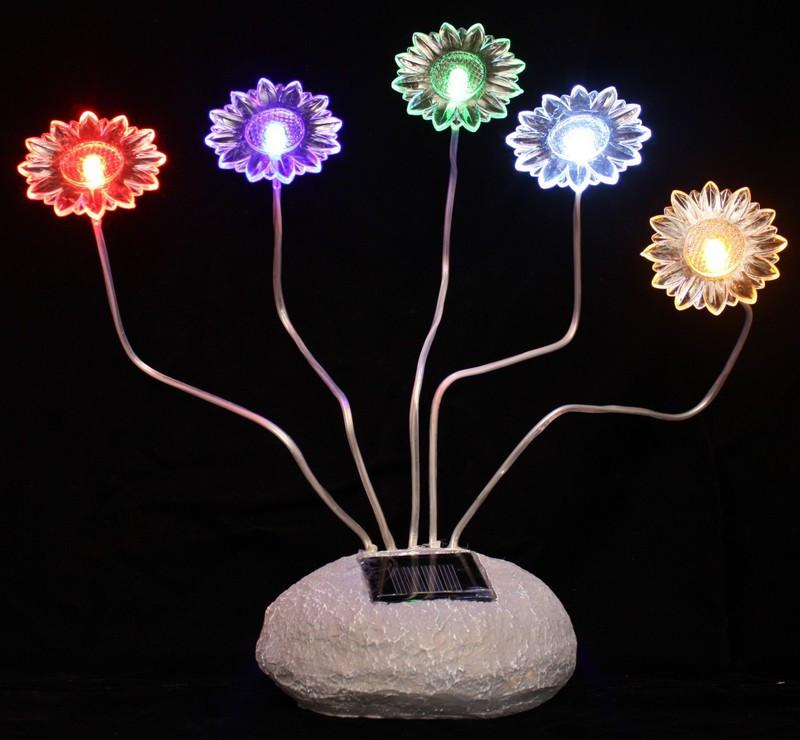 Flower Solar Lights Amp Garden Decor Rock Sunflower 5