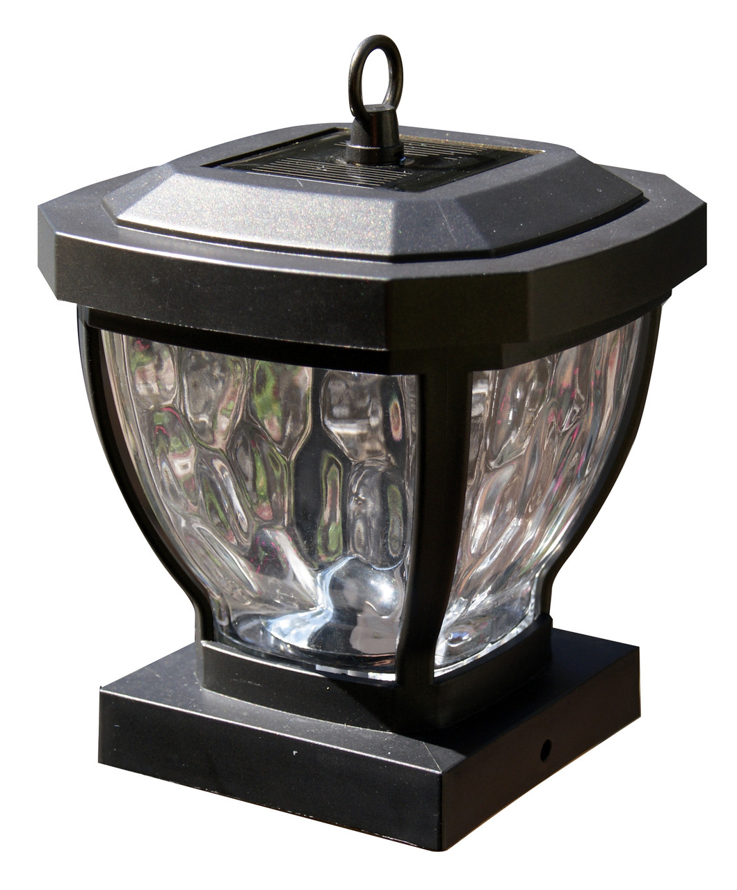 4x4 Solar Post Caps Set Of 2 Glass Carriage Lanterns For