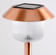 Solar path lights are made from copper plated stainless steel and have a natural white LED light.