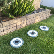 Solar powered stepping stone lights are available in a Set of 3.
