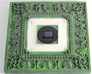Solar stepping stone lights are a Green 13 inch Square and come in a set of 3.