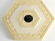 Solar stepping stone lights are a white hexagon, and come in a set of 3.