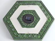 Solar powered stepping stones lights with a Garden Green Hexagon design.
