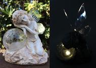 Fairy Solar Light with Crackle Glass Solar Globe and Soft White LED Bulbs.