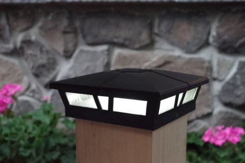 6x6 solar post cap lights black cambridge set of 2 aluminum glass aloadofball Images