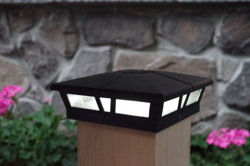 6x6 solar post cap lights black cambridge aluminum and glass black 6x6 solar fence post lights for vinyl pvc or wood posts aloadofball Image collections