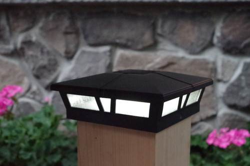 black 6x6 solar fence post lights for vinyl pvc or wood posts
