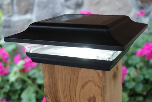 5x5 Solar Fence Post Lights Black Aluminum Imperial Set Of 2