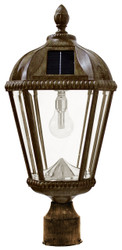 "The Royal solar carriage lantern with 3"" fitter in Weathered Bronze Finish."