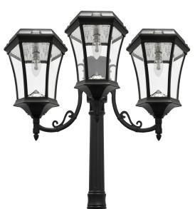 Solar Lamp Post Light   Victorian Triple Coach Lanterns   Solar Bulb