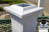 Solar post cap lights are White 5x5  caps that will fit your actual Vinyl or PVC fence posts.