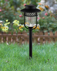 Solar garden lights are made from Black Stainless Steel and Glass Lenses.