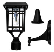 The solar lamp post light has 3 mounting options for walls, columns or pillars.