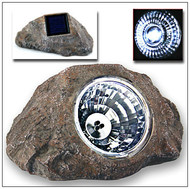 Solar Spot Light Sandstone Gray Rock with 3 Super Bright LED Lights.