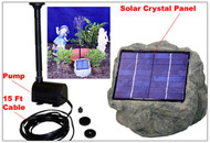 Solar Submersible Waterfall Pump, Rock Panel, and Cable.