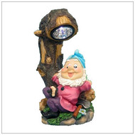 Solar Garden Lights Gnome Resting Under Tree With LED Spot Light.