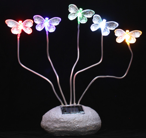 Exceptional Solar Garden Lights Butterflies With 5 Steady On Color LED Lights.
