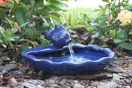 Solar Water Fountain with Fish and Bowl of Ceramic Blue Glaze.