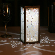 Solar Table Lantern with Scrolled Frosted Glass, 1 White LED.