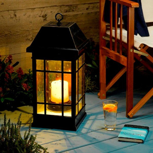 Charming Solar Table Or Hanging Lantern, 24 Inches, 2 Warm White And 1 Amber LED