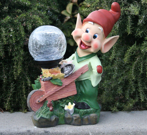 Marvelous Solar Garden Lights Dwarf Statue Holding Crackled Glass Globe Light.
