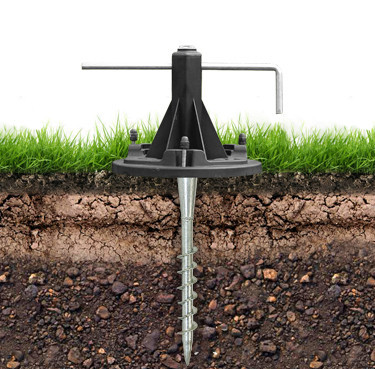 solar pole lights security anchor with metal auger and bubble level