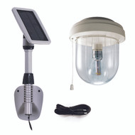 Indoor solar shed light has 250 lumens of light output.