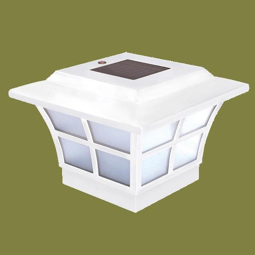 solar deck post cap lights 4x4 white prestige solar post caps set. Black Bedroom Furniture Sets. Home Design Ideas