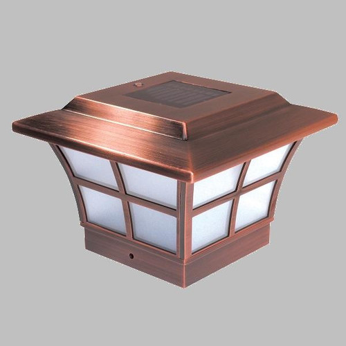 Solar deck post caps 4x4 copper wood pvc fence posts set of 2 solar post cap lights of copper plated metal for 4 x 4 posts sciox Choice Image