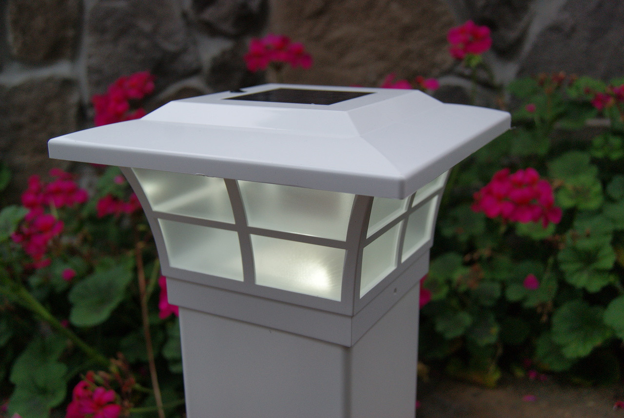 Solar Post Cap Lights 5x5 White Prestige Set Of 2 Free