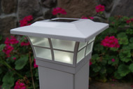 5x5 White Prestige Solar Deck Post Cap Lights will fit nominal wood and vinyl posts.