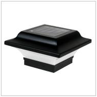 Solar Post Cap Lights Low Profile Black Finish and 2 Bright White LED.
