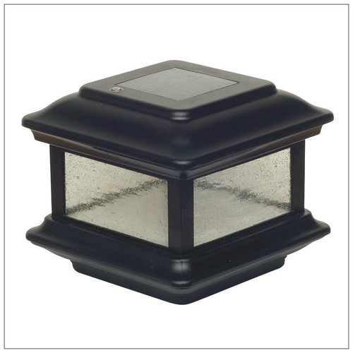 solar post cap lights 4x4 black aluminum colonial for. Black Bedroom Furniture Sets. Home Design Ideas