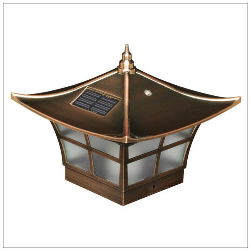 Solar Deck Post Cap Lights 4x4 Copper Ambience Wood